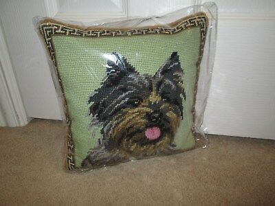 Cairn Terrier  Dog Handmade Needlepoint Pillow 10 by 10 NWT