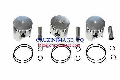 Suzuki GT750 Pistons Set 71.00mm 1.0mm Oversize Rings Pin Clips  10-GT750PS-2
