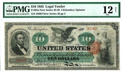 "$10 1863 Legal Tender US Note PMG 12 Net ""Fine"" (Repaired)"