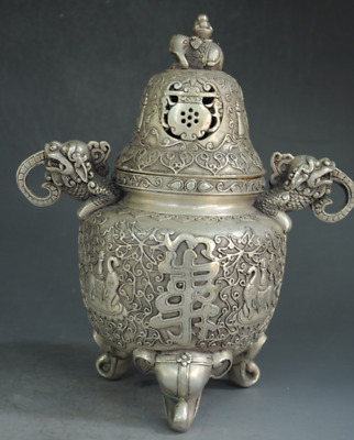 Chinese Old Silver Elephant Pi Xiu Incense Burner Censer Incensory