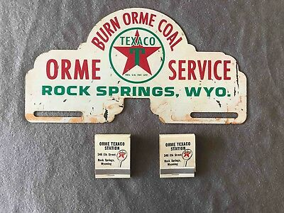 Vintage Burn Orme Coal Texaco Gas Service License Plate Topper & Matches Wyoming