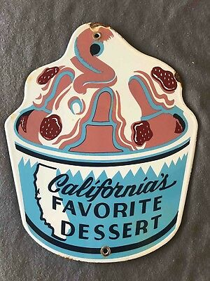 Old Foster's Freeze Drive-In California's Favorite Dessert Porcelain Sundae Sign