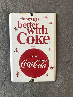 Vintage Things Go Better With Coca-Cola TGBWC Porcelain Soda Door Push Sign