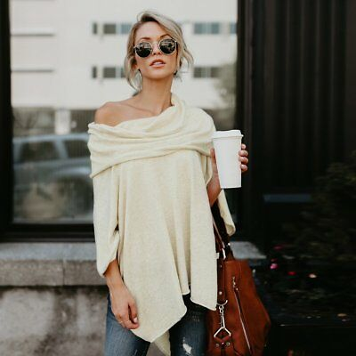 Fashion Women Off Shoulder Blouse Long Sleeve Casual Loose Shirt Autumn Tops