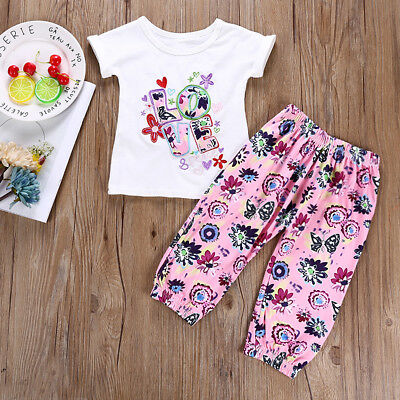 Baby Girls Toddler Kids Short Sleeve T-shirt Tops+Pants Outfits Clothes Set Hot