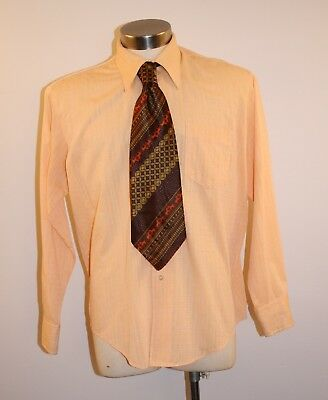 "X Large 16 1/2 Original Vintage Mens Orange Shirt & Tie. ""londonaire"" Hong Kong."