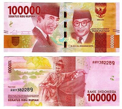 2016 Indonesia 100,000 Rupiah Uncirculated One Note