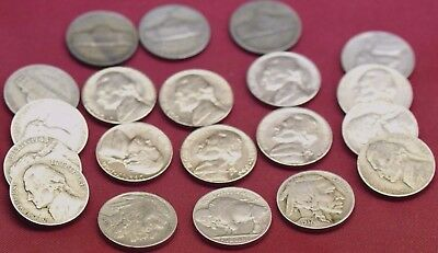 20 Coin Lot ~ Mixed Jefferson Nickels ~ 6 Bu Coins Silver War And Buffalo~ Nice!
