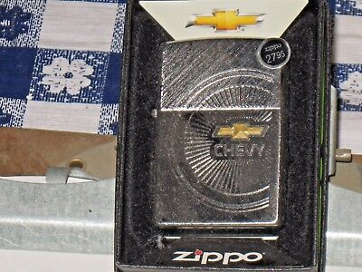 New Windproof ZIPPO USA LIGHTER 28423 Chevy Hub Cap Diagonal Brushed Chrome Case