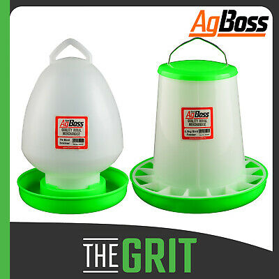 AgBoss 7L Drinker & 5.5kg Feeder Poultry Set Bird Chicken Hens Birds