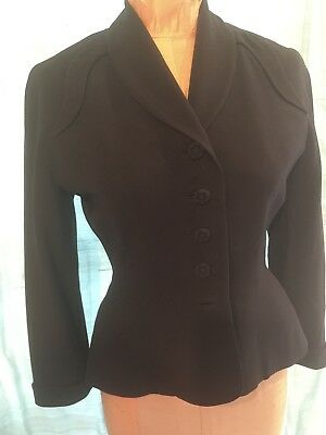 Vintage 1940s Black Forstmans Wool Blazer Jacket Covered Flower Buttons New Look