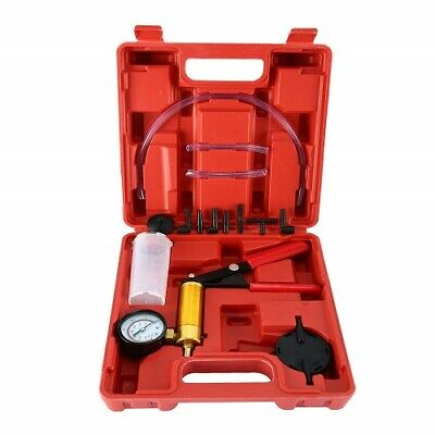 Hand Held Vacuum Pistol Pump Tester Car Brake Fluid Bleeder Kit +Adapters w/Case