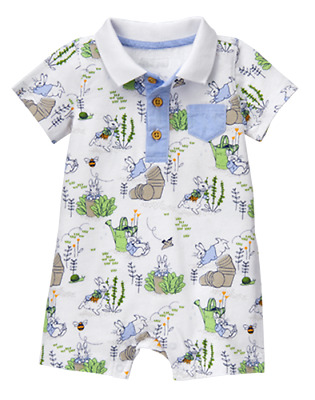 0 3 6 9 12 18 M Gymboree PETER RABBIT Polo Romper Shorts Baby Boy New Gift NWT