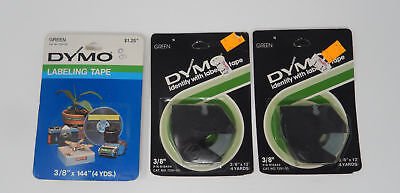 """DYMO Embossing Labeling Tape 3 Rolls 3/8"""" X 12' GREEN Glossy"""