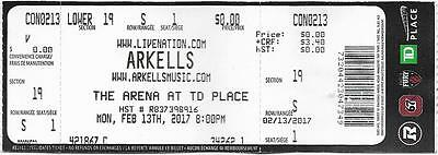Arkells Pop Td Place Ottawa Canada 13.02.2017 Used Ticket