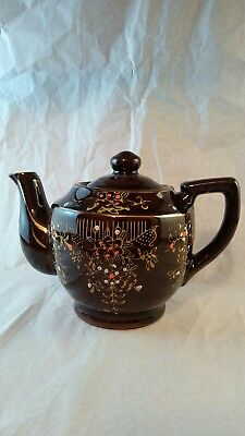 "Japanese Made in Japan Brown Teapot Vintage Ceramic Tea Pot 6"" floral"