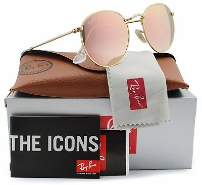 Ray-Ban Round Metal Sunglasses RB3447 112/Z2 Matte Gold/Cooper Flash Lens 50MM