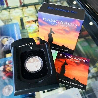 Royal Australia Mint 2012 Kangaroo at Sunset $1 Silver 1/5oz Proof Coin Certi...