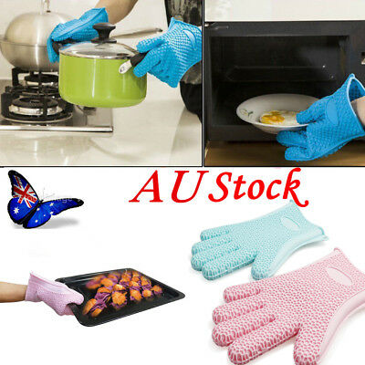 AU Stock 1PC Silicone Kitchen Glove Heat Resistant Oven Bbq Cooking Grill Gloves