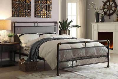 Modern Vintage Industrial Scaffold Style Metal Bed Frame Double King Size