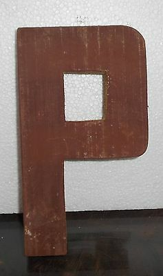 The P wood sign Plaque Décor Solid reclaimed Wood carved manually my154
