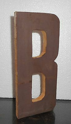 The B wood sign Plaque Décor Solid Wood carved manually and will free stand