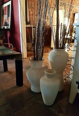 Grecian Pots Vases Urns x 3- including decorative twigs - Off White / White