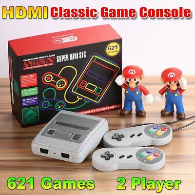 Super NES SNES Mini SFC HDMI/AV Classic Retro TV Game Console Built in 621 Games