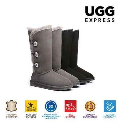 UGG Boots - Ladies Water Resistant Tall Button with Crystal - Clearance Sale