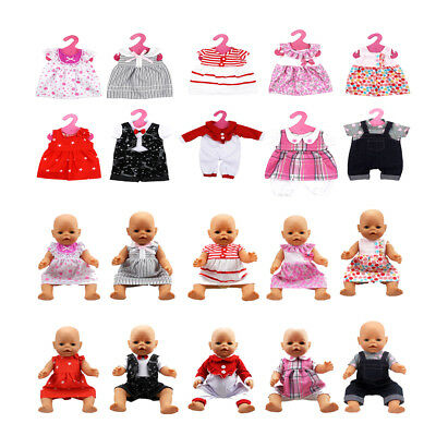 10 Styles Clothes & Hangers for 18inch American Girl Zapf Baby Born Dolls Outfit