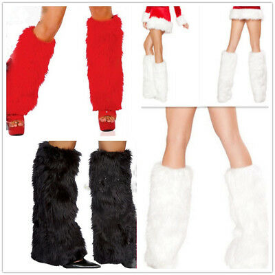 Sexy Faux Fur Leg Warmers Rave Fluffies Lady Boot Cover Santa Christmas Fashion