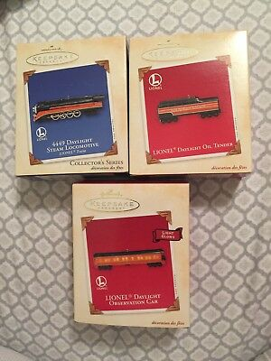 New Unopened Hallmark (Lot Of 3) 2003 Lionel Daylight Loco Tender Observation