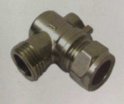"15mm x 3/8"" Angled Flat face Isolating Valve for Flexible Tap Connectors Grohe"