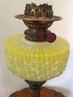 Antique Yellow Applied Glass Kerosene Lamp Bowl