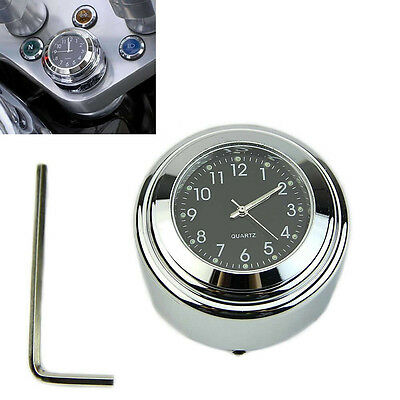 "7/8"" 1"" Motorcycle Bike Chrome waterproof Black Dial Handlebar Clock Glow Watch"