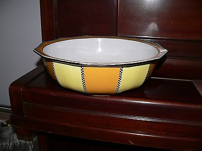 Large Antique Art deco bathroom basin-Orange/Yellow/Black-Good condition