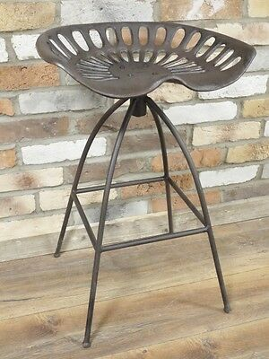 Vintage Industrial Style Tractor Seat Swivel Top Stool Bar Stool Height 69cm