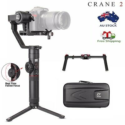 New Zhiyun Crane 2 V2 3-Axis Handheld Gimbal for Mirrorless DSLRs+Dual Grip Kit