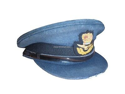 Royal Air Force Warrant Officer Peaked Cap - 55Cm - Used Condition - Sp3671