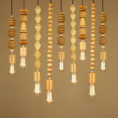 Rustic Country Style Natural Wooden Long Beads Single Exposed Bulb Pendant Light