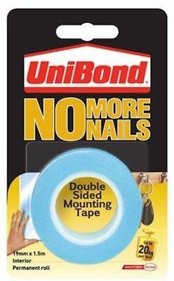 Unibond No More Nails Double Sided Permanent Mounting Tape Roll 19mm x 1.5M