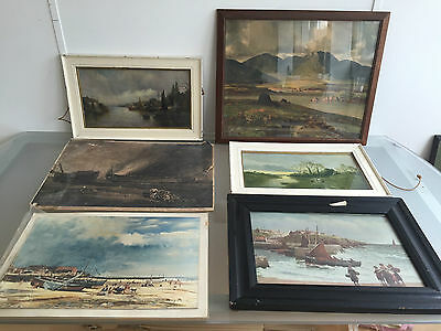 Lot Of 6 Lake / Sea Landscapes - Framed Prints - Vr