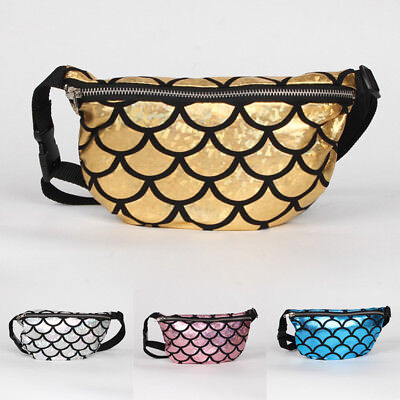 Mermaid Shiny Bum Bag Waist Fanny Pack Belt Holidays Festival Pouch Hip Purse BG
