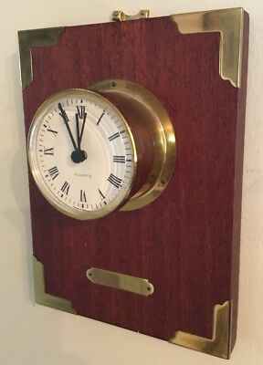 Modern Ship Style Bulkhead Wall Clock on Timber Plaque with Brass Mounts WORKING