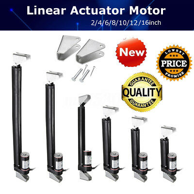 "2"" 4"" 6"" 8""-16"" Linear Actuator Stroke 225lb Max Lift Output 12V DC & Brackets"