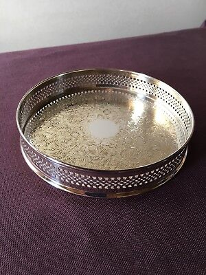 Small vintage silver plated gallery decanter tray made in England 13.5cm