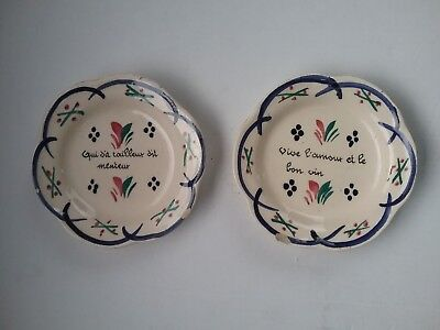 Henriot quimper x2 pin dishes ? Rare french faience pottery