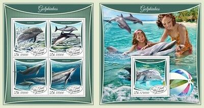 Z08 IMPERF ST17503ab Sao Tome and Principe 2017 Dolphins MNH Mint Set