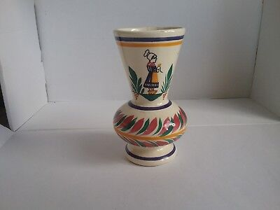 Henriot quimper posy vase  Rare french faience pottery breton lady
