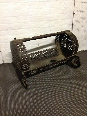 Vintage Antique Rustic Wooden Hand crafted Rocking Cradle Baby Cot Crib Display